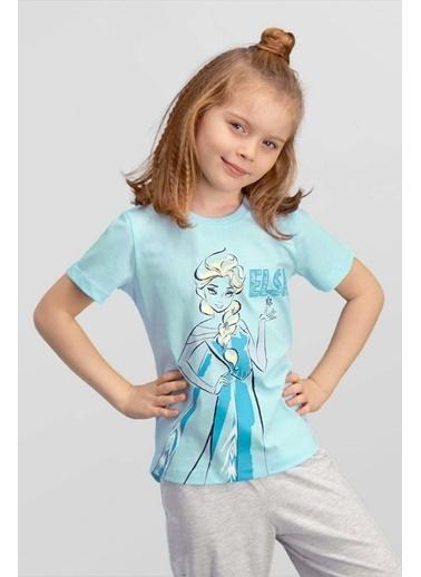 Frozen Karlar Ülkesi Elsa - Frozen Lisanslı Mavi Kız Çocuk T-Shirt Mavi
